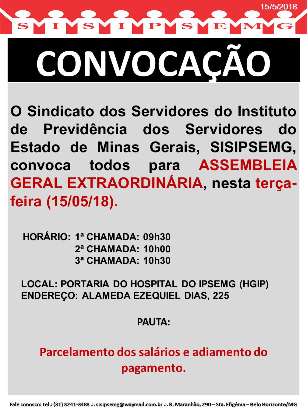 Convocação Assembleia Geral 15052018